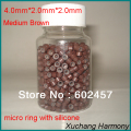(1000 pcs/lot) STOCK 4.0*2.0*2.0mm Silicone lined micro links beads rings For human hair extensions with 8 different colors