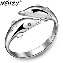 Silver double dolphin female models love lovely wild fashion jewelry ring opening retro jewelry factory wholesale