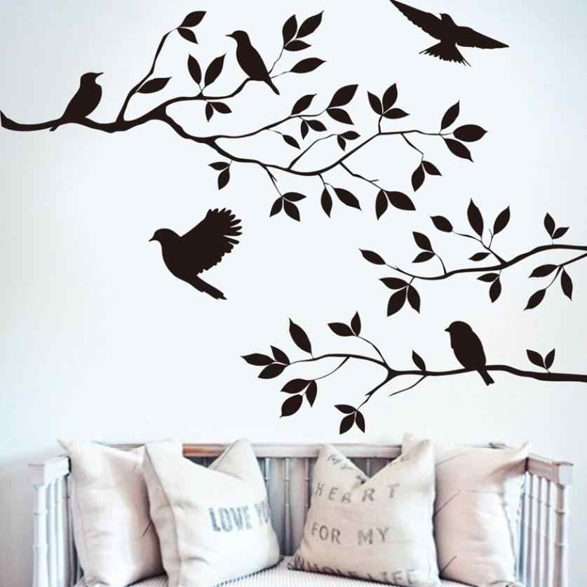 Boom Bird Verwijderbare Muursticker Vinyl Art Decal Mural Home DIY Decor Boom takken vogel muursticker wall Mural behang & 15