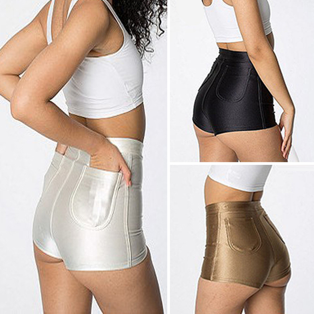 High Waist Shiny Stretch Women Girls Disco Short Pants Satin ...