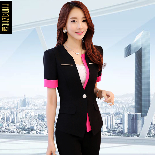 73604ca0f50 Uniformes de línea aérea de moda para mujer nueva chaqueta elegante de  manga corta + pantalón