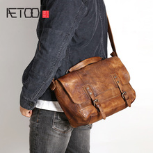 AETOO Handmade vintage tanning Leather single shoulder bag cowhide casual portable postman young men leather crossbody
