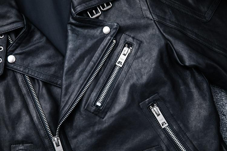 MAPLESTEED 100% Natural Sheepskin Tanned Leather Jacket Black Soft Men's Motocycle Jackets Motor Clothing Biker Coat Autumn M111