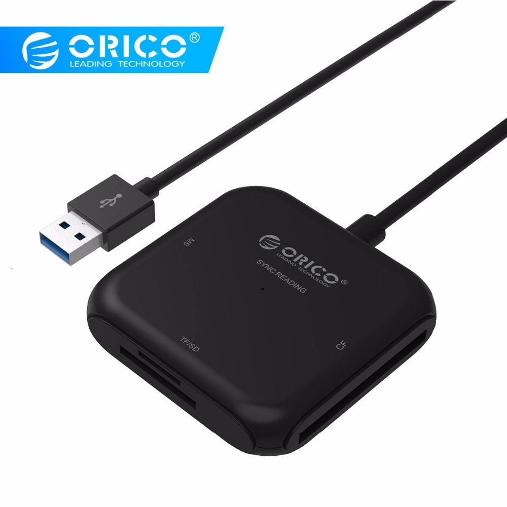 ORICO CRS31A Lettore di Smart Card 4 in 1 USB 3.0 Flash Multi Memory Card Reader per TF/SD/ MS/CF 4 Card di Lettura e Scrittura Contemporaneamente