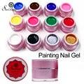 Saviland 1 unids Pintura UV Gel 3D Pintura Esmalte de Uñas Permanen arte Dibujado Glitter 12 Colores de Uñas de Acrílico Arte Gel Bio polaco