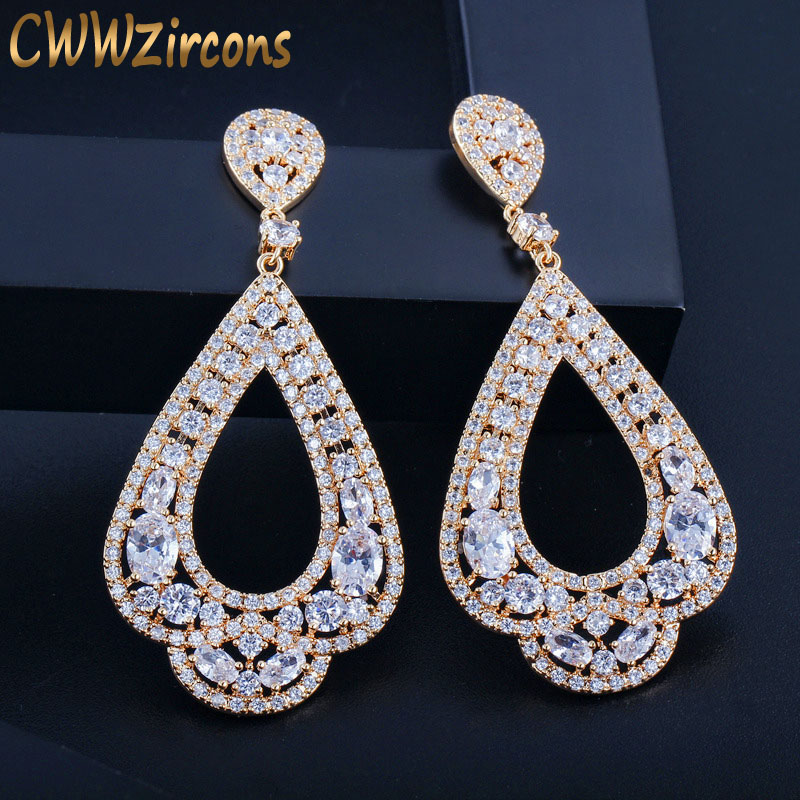 CWWZircons Full Micro Paved CZ Crystal Gold Color Large Long Circle Hoop Earrings For Women Wedding Dancing Party Jewelry CZ147
