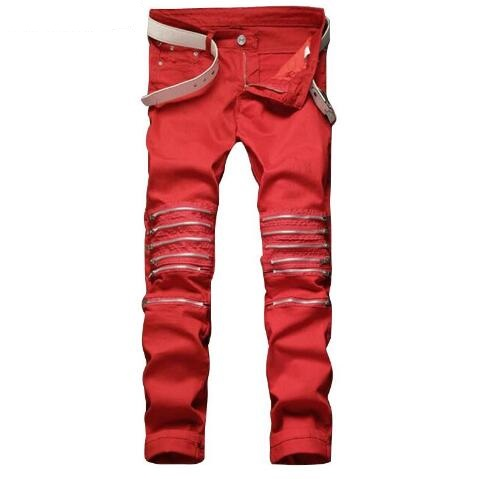 #3247 2017 Red/White zipper jeans Club Wear Mens jogger jeans Distressed Male ripped jeans Biker pants Denim Joggers Destroyed