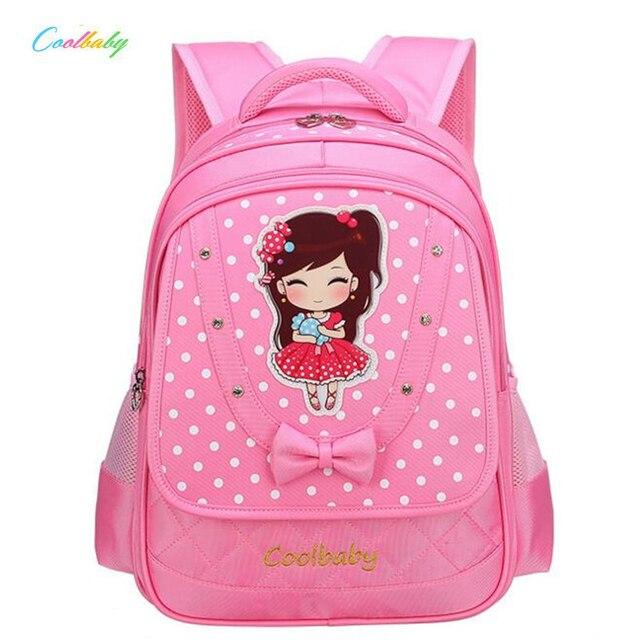 38e1778c3626 New 2018 Fashion Girls School Bags Sweet Cartoon Children School Bag 1-3-6  Grade Primary Book Bag Girls Bowknot Mochila A990