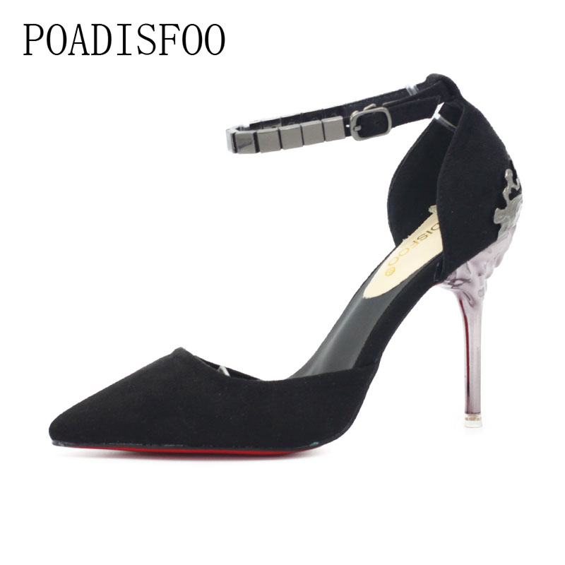 POADISFOO 2018 New Women  Super high-heel pumps shallow mouth pointed hollow carved metal with chain shoes .ZWM-1723 koovan women pumps 2017 spring new shallow mouth pointed shoes heel pearl buckle with high heeled ladies shoes