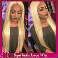 2016 New Hot Style Synthetic Lace Front Wig Silky Straight Blonde Wig Heat Resistant Middle Part Hair With Baby Hair For Women