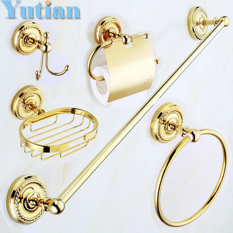 Free shipping,solid brass GOLD Bathroom Accessories Set,Robe hook,Paper Holder,Towel Bar,Soap basket,bathroom sets,YT-12200G-5  free shipping solid brass bathroom accessories set robe hook paper holder towel bar bathroom sets antique brass finish yt 12200