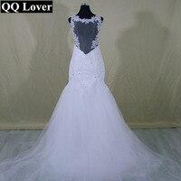 2017 New See Through Back Lace Mermaid Wedding Dress With Detachable Train Custom Made Vestido De