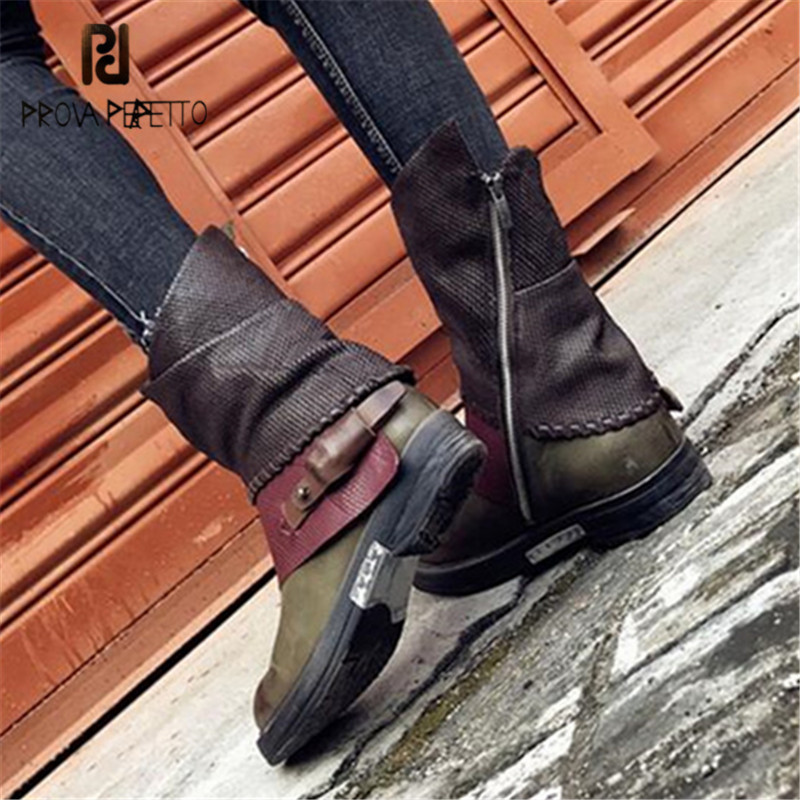 Prova Perfetto Patchwork Women Autumn High Boots Genuine Leather Flat Rubber Boots Female Platform Shoes Woman Martin Boot цены онлайн