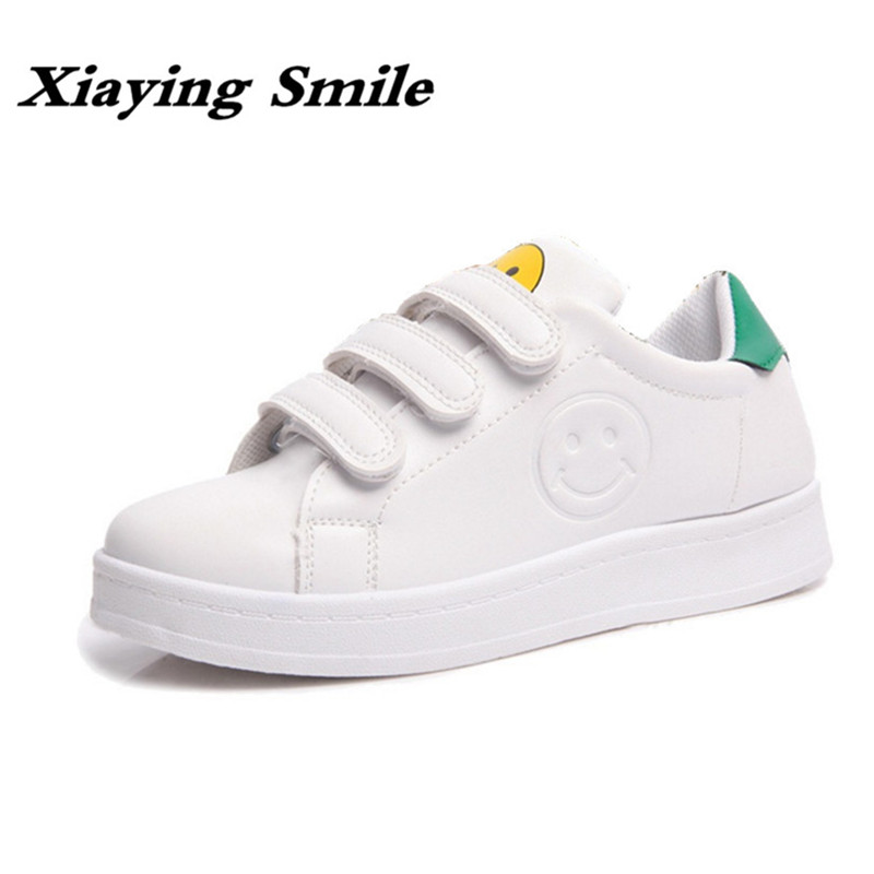 Xiaying Smile Spring Woman Sneakers Shoes Women Flats Casual Smile Face Round Toe Thick Sole Hook And Loop Rubber Women Shoes xiaying smile woman sandals shoes women pumps summer casual platform wedges heels sennit buckle strap rubber sole women shoes