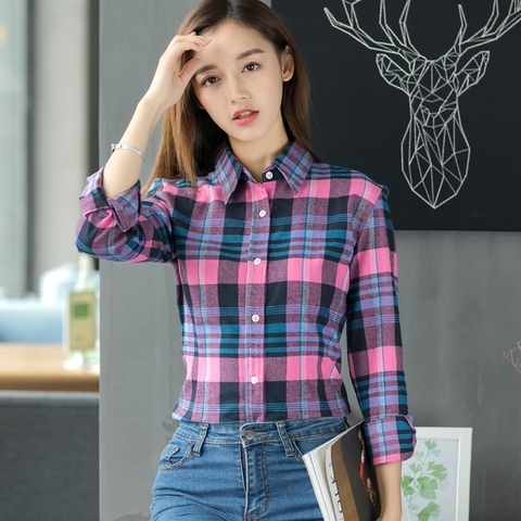 2019 Spring New Fashion Casual Lapel Plus Size Blouses Women Plaid Shirt Checks Flannel Shirts Female Long Sleeve Tops Blouse Karachi