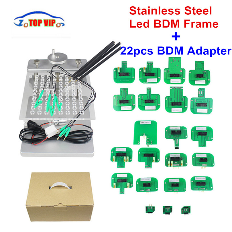 Metal LED BDM Frame Stainless Steel 2IN1 22pcs BDM Probe Adapters ECU Programming Bracket For KESS V2 KTAG FGTECH Tuning Tool 22pcs bdm adapters for ktag kess ktm dimsport fgtech bdm probe with 22pcs adapters full set led bdm frame ecu ramp adapters