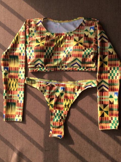 African Vintage Print Bikini Set Push Up Pad Swimwear Swimsuit Sexy Retro Women High Waist Bottoms Swim Long Sleeve Bathing Suit 8