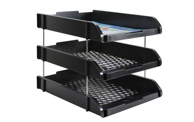 Random Color Three Layers Doent Trays Cubbyhole Pigeonhole Table File Shelf Office Articles For Collect