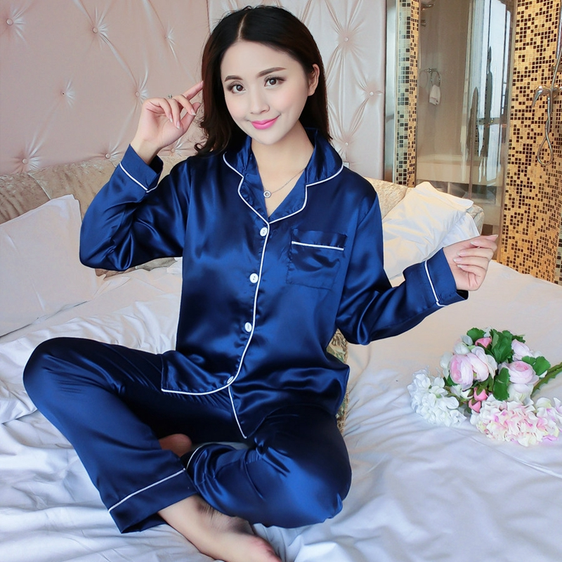 Silk Satin Cardigan   Pajamas     Sets   for Women 2019 Spring Autumn Soft Sleepwear Long Sleeve Pyjama Loungewear Homewear Pijama Mujer