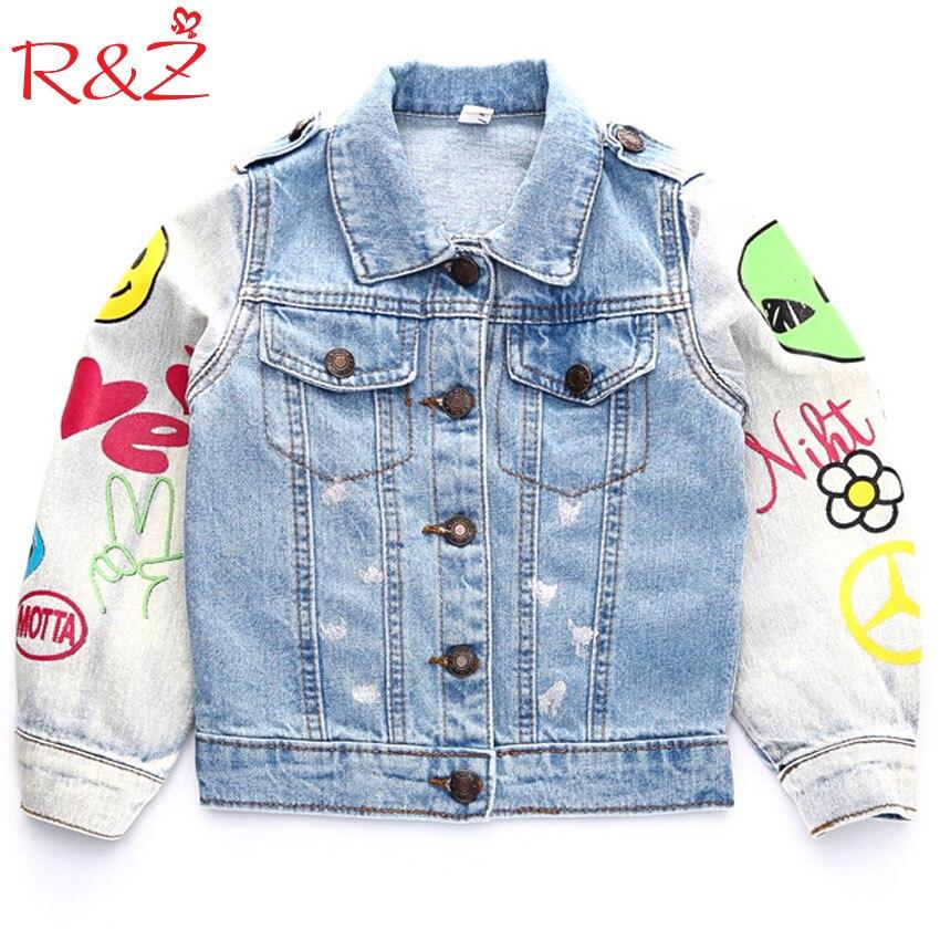 R & z/осень 2017 г. новые дети Ковбойская куртка граффити с длинным рукавом Мода значок пальто Wild Boy детская одежда для девочек джинсовый кардига...