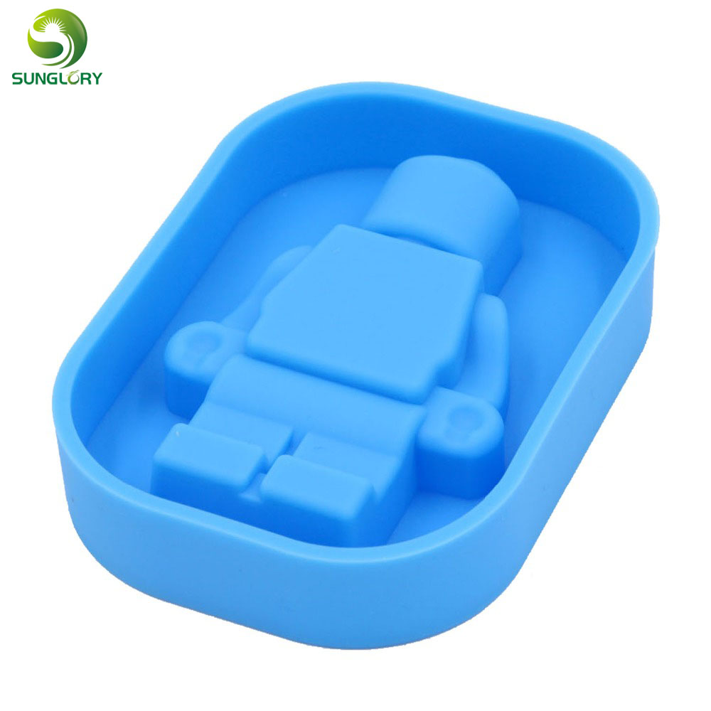 DIY Robot Silicone Cake Mold Ice Cube Tray Ice Cream Tubs Silicone Ice Cream Mold Maker Fondant Chocolate Mold Baking Cake Tools in Ice Cream Tubs from Home Garden