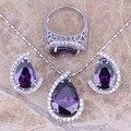 Amethyst púrpura Blanco CZ Joyería Conjuntos Pendientes Colgante Anillo de Plata Para Mujer Talla 6/7/8/9/10/11/12/13 S0004
