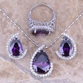Purple Amethyst White CZ Silver Jewelry Sets Earrings Pendant Ring For Women Size 6 / 7 / 8 / 9 / 10 / 11 / 12 / 13 S0004