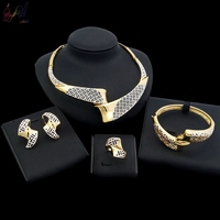 Yulaili Party Gold Jewerly Set Beige Enamel Beautiful Necklace Earrings Jewelry Set For Women.