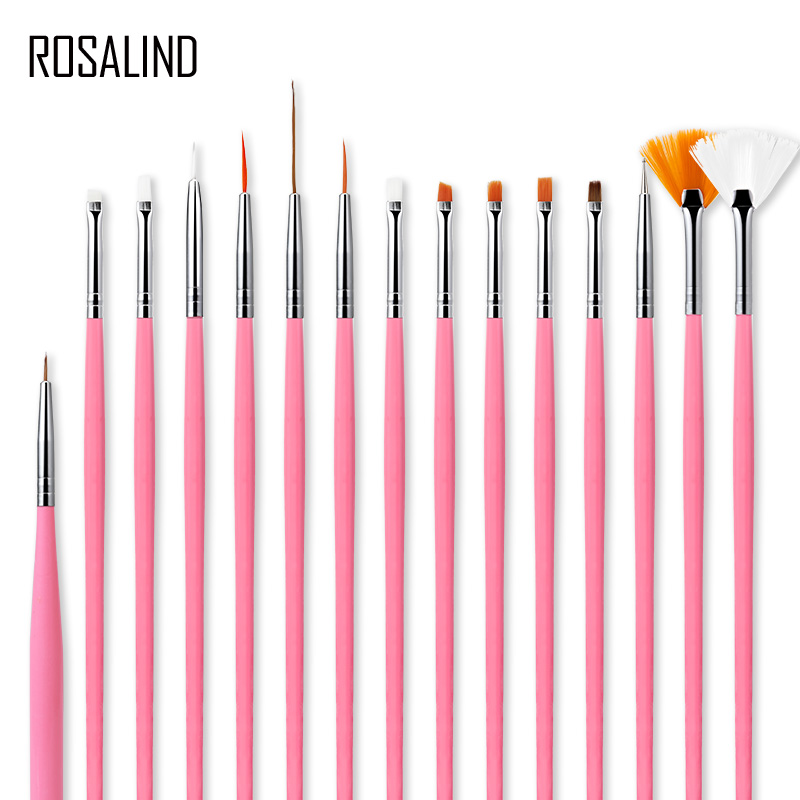 ROSALIND 15 Pcs/Set Nail Brushes For Manicure Design Tool Set 3D Gel Acrylic Brushes Liner Pen Nail Art Brush For Nails Design