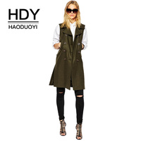 HDY Haoduoyi Vests Autumn New Lady Style Female Army Green Turn down Collar Double Breasted Pocket Women Long Casual