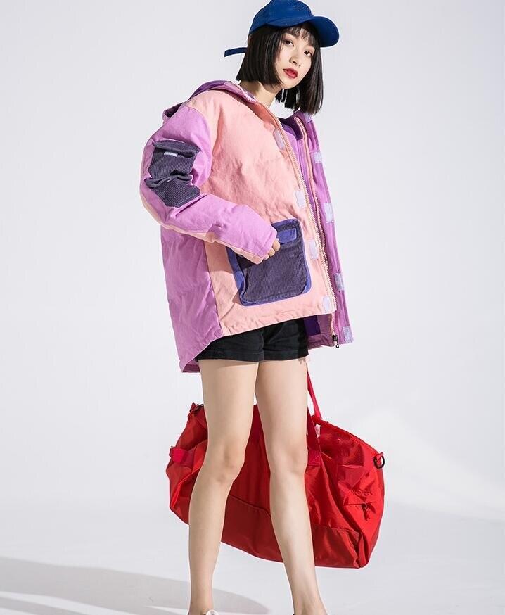 Whitney Parkas Wang Coton De Streetear Manteau Femmes Rose Hiver Contraste Poches Mode Couleurs Oversize Parka 2018 Rembourré Hommes Automne DH29WEIY