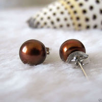>@ Genuine 7 8mm Brown Freshwater Pearl Sterling Silver Stud Earrings Top quality free shipping