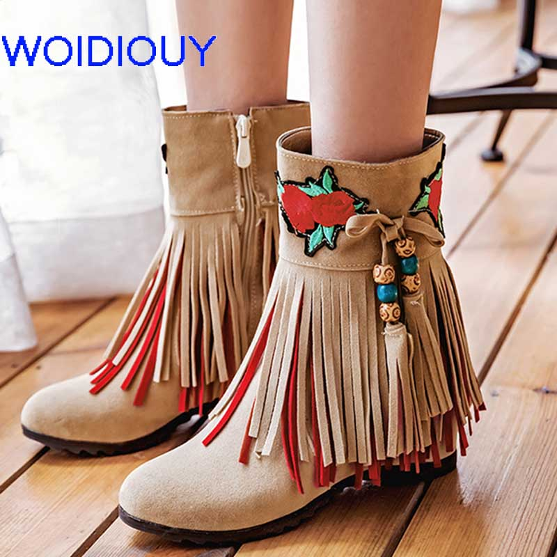 Handmade red Flower Embroider Boots Boho Ethnic Women Tassel Fringe Suede Leather Ankle Boots Casual Flat Heel Female Shoes