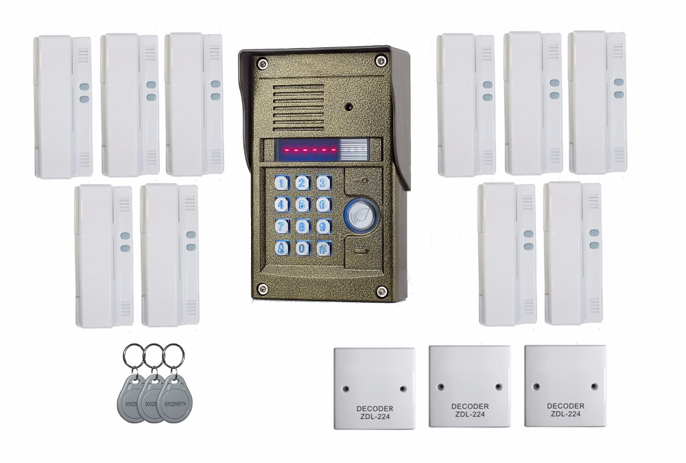 ZHUDELE 327R system 1 outdoor panel with 10 handsets audio door phone intercom system for 10 apartments