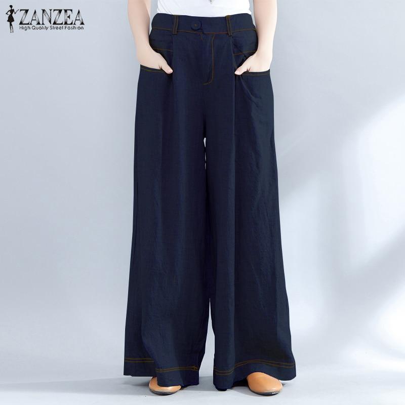 2019 ZANZEA Vintage High Waist Wide Leg Pants Women Summer Baggy Casual Loose Pantalon OL Work Denim Blue Long Trousers Plus