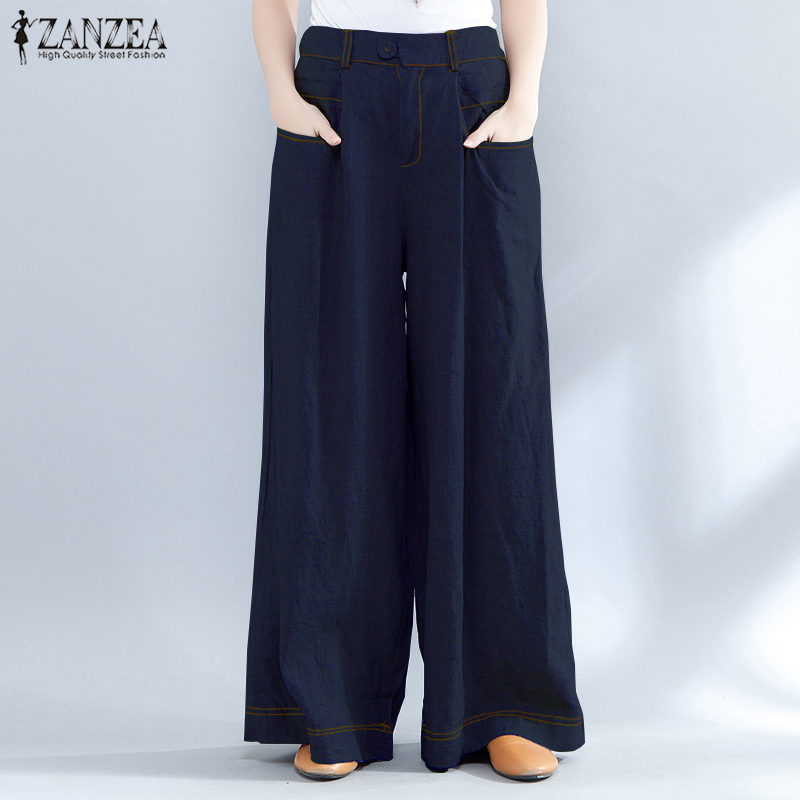 2019 ZANZEA Vintage High Waist   Wide     Leg     Pants   Women Summer Baggy Casual Loose Pantalon OL Work Denim Blue Long Trousers Plus