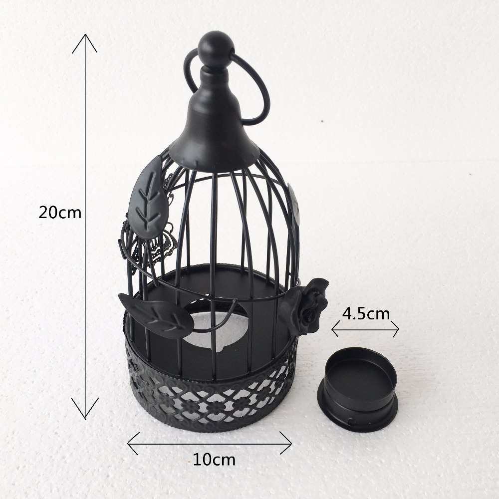 Black Metal Bird Cage Candle Holder Vintage Tealight Candle Lantern ...