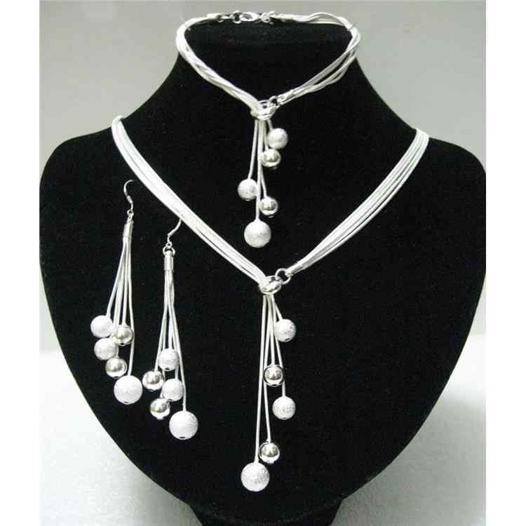 מכירה גדולה נשים של תכשיטי מלוטש סיים צמידי Y-צורת שרשראות Drop עגילי כסף מצופה חרוזים אפריקאים תכשיטי סטים