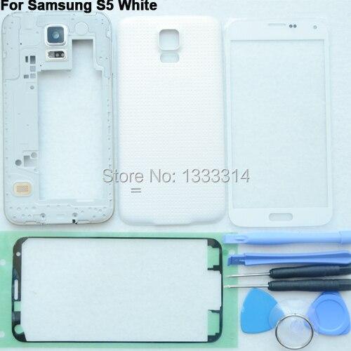 Белый Оригинал Полный Дело Корпус Задняя Крышка Ближний Рама Передняя стекло Объектива Для Samsung Galaxy S5 G900 G900F G900A Бесплатная клей