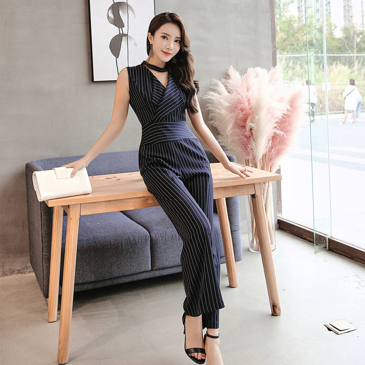 2018 Summer Women Office Blue Striped Sleeveless Jumpsuits Long Pants Trousers Tank Bodysuit Catsuit Overall Playsuits Rompers