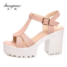 Fanyuan Women Sandals Summer Shoes Elegant T-Strap Thick High Heels Platform Sandals Open Toe Party Dress Shoes Woman Sandals fanyuan new ladies shoes women sandals summer open toe sweet flower fashion platform high heels wedge sandals female shoes