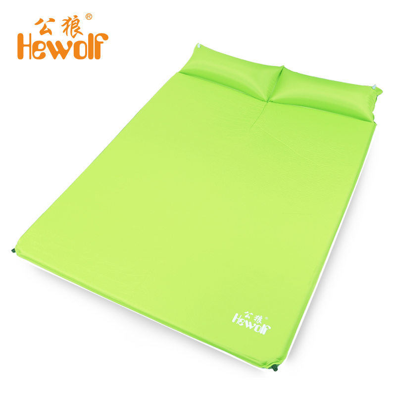 Hewolf Two Person Automatic Inflatable Mattress Sleeping Mat Moisture Pad with Pillow Blowout Proof Design for Outdoor New