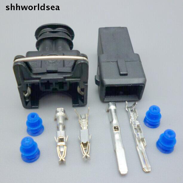 shhworldsea 100sets EV1 Fuel Injector Plug nozzle Cars Waterproof 2 Pin way Electrical Wire Connector 282762