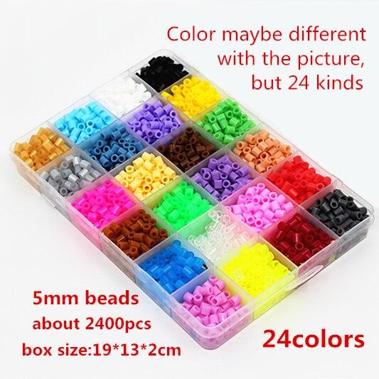 5mm 24 colour hama perler beads 2400pcs boxed set EVA kids children DIY handmaking fuse bead Intelligence Educational Toys Craft(China)