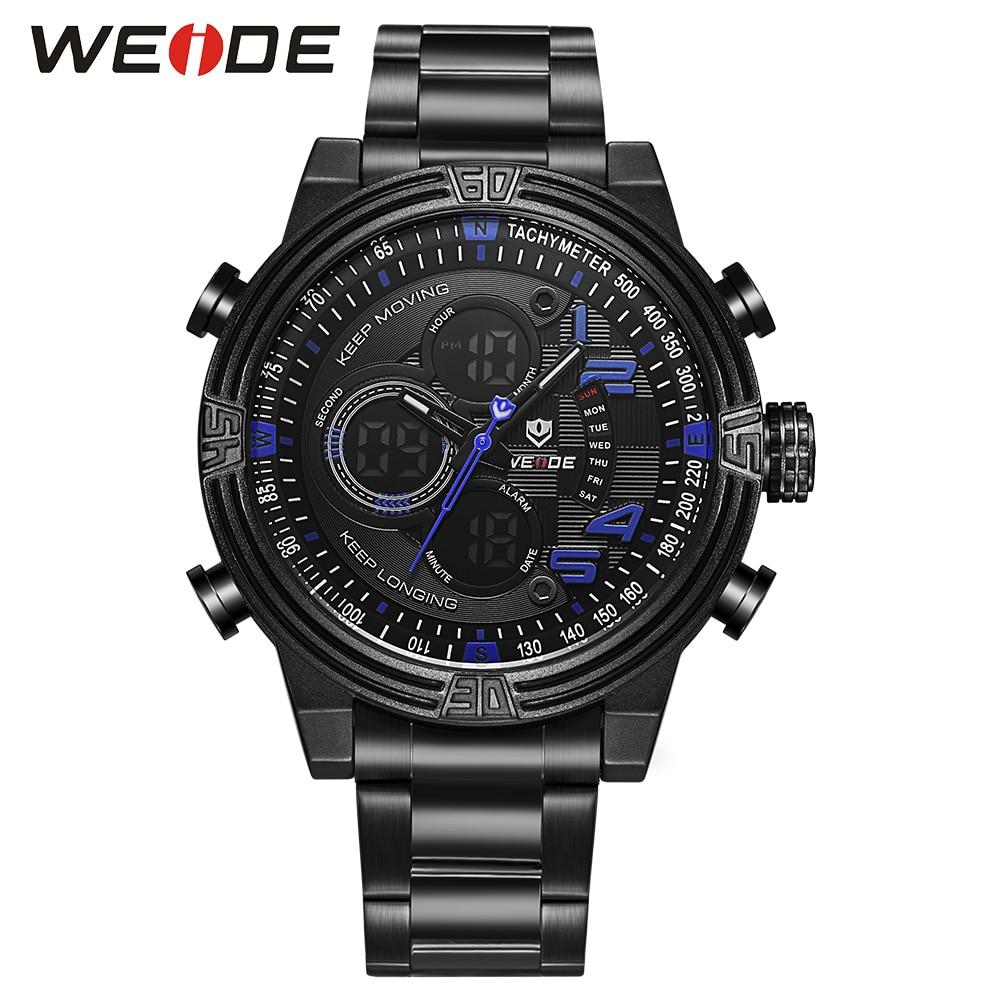 ФОТО WEIDE Business Blue Fashion Hot Sales Watch for men  Quartz LCD Digital leather Movement Waterproofed Watch Men Military Watch