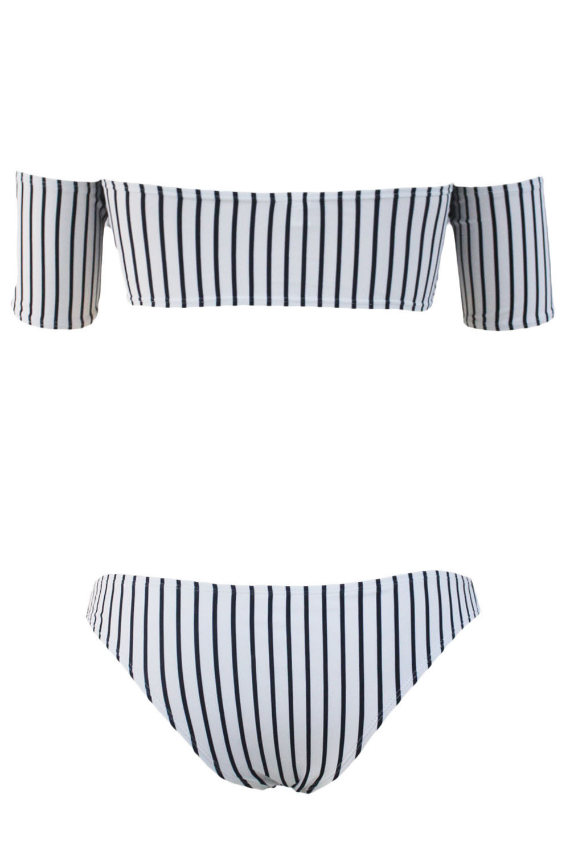 Striped Off Shoulder Bandeau Bikini With High Cut Bottoms 3