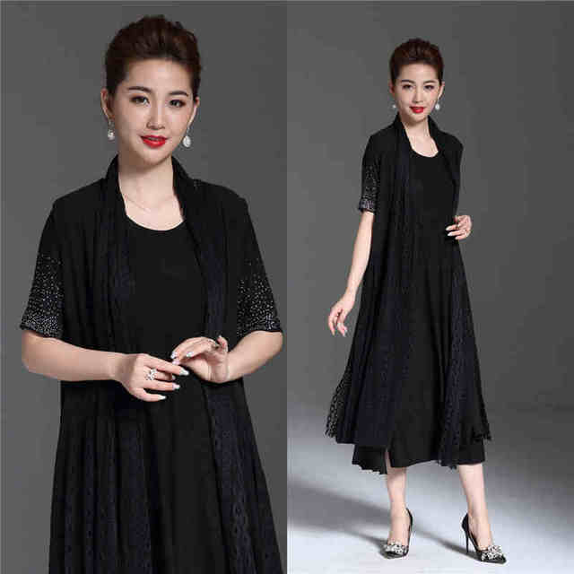 New 2018 Summer Fashion Women Plus size Elegant long Dress Middle Age  twinset party dress Rhinestone lace longos vestido L-XXXXL 5ef073644f2d