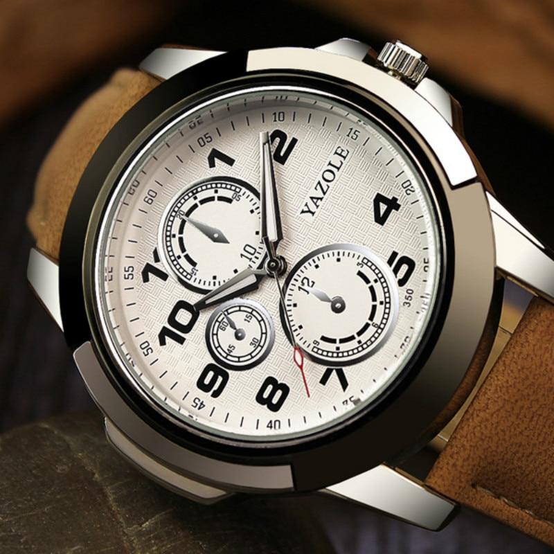 Nueva Llegada Relojes de Cuarzo Yazole Hombres Correa de Cuero de - Relojes para hombres - foto 3