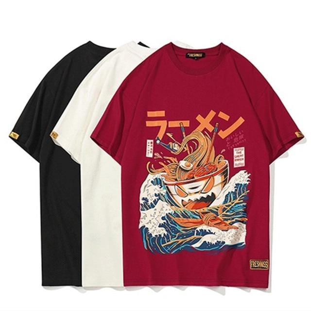 13b8130b9 Hipster Japanese Funny Cartoon Ramen Printed Short Sleeve T Shirts  Streetwear Fashion Casual Hip Hop Tshirts Tops Tees