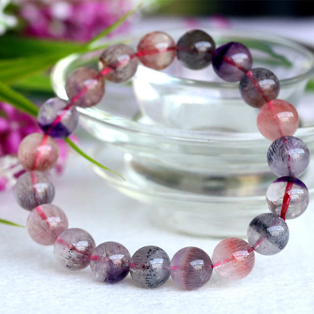Wholesale Natural Genuine Multi Colors Mix Super Seven 7 Finish Stretch Bracelet Round Beads Melody Stone 10mm 04045